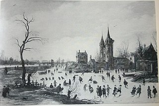Fun on the ice near the Oosterpoort in Delft