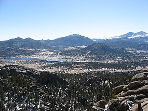 Estes Park, Colorado - Panorama of Estes Park as seen from Lumpy Ridge