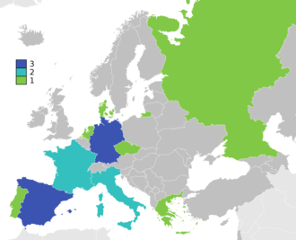 UEFA European Championship - Map of winners. Germany: twice as West Germany and once as united Germany, Russia as Soviet Union and Czech Republic as Czechoslovakia