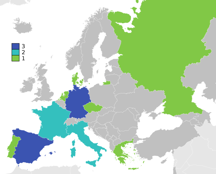 Map of winners. Germany: twice as West Germany and once as united Germany, Russia as Soviet Union and Czech Republic as Czechoslovakia European Football Championship winners.png