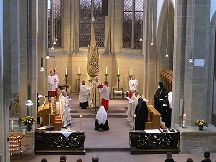 Perpetual vows and consecration of virgins in the Benedictine priory of Marienrode in Germany, 2006 Ewige Profess.jpg