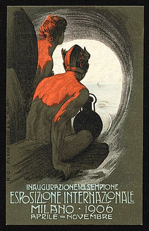 Milan International (1906) - Expo's poster with railwaymen watching Milan from the Simplon Tunnel's portal