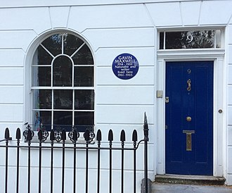 Gavin Maxwell - A blue plaque commemorating Maxwell as a writer and naturalist at the house where he lived in Paultons Square, London