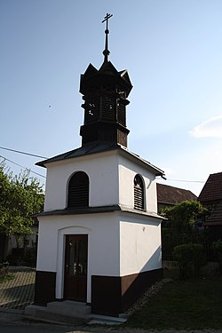 Exterior of bell tower in Zálesná Zhoř, Brno-Country District.jpg