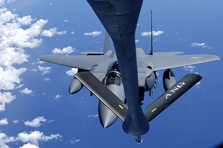 A South Korean F-15K Eagle comes in for fuel from an American KC-135. - Republic of Korea Air Force