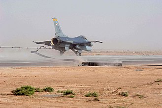Arresting gear - An F-16 makes a field arrestment.