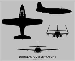 Orthographically projected diagram of the F3D-2 Skyknight.