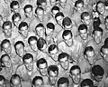 Face detail, Young men training at pre-flight school at Del Monte Hotel, Del Monte, Calif., grin as they file out of the mess hall. - NARA - 520807 (cropped).jpg