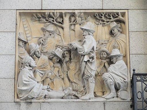 Faith (Church members holding services outdoors) by Domingo Mora Bas-Reliefs - bas-reliefs, Congregational House, Boston, MA - DSC04684