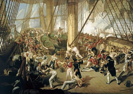 Nelson is shot on the quarterdeck, painted by Denis Dighton, c. 1825 Fall of Nelson.jpg