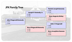 Family tree - Example of a family tree, showing three generations of the Kennedy Family