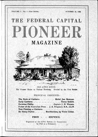 The Federal Capital Pioneer - Cover of The Federal Capital Pioneer Magazine, 15 October 1926