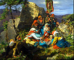 Ferdinand Georg Waldmüller - The Interrupted Pilgrimage (The Sick Pilgrim) - Google Art Project.jpg