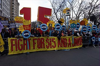 Minimum wage in the United States - Living wage rally and march for a $15 per hour minimum wage and union rights in New York City on April 15, 2015.