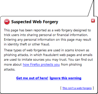Phishing - Screenshot of Firefox 2.0.0.1 Phising suspicious site warning