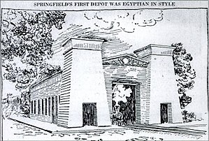 Springfield Union Station (Massachusetts) -  Springfield's original station, constructed in the Egyptian Revival style in 1839