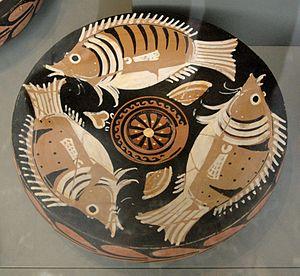 Neapolitan cuisine - Apulian red-figure fish plate, ca. 340 BC