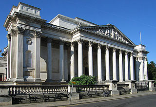 The main entrance to the Fitzwilliam Museum, the art and antiquities museum of the University of Cambridge.