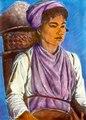 Flickan Alisa på väg att gå och skära padi - SMVK - 1567D.tif