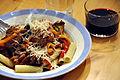 Flickr - cyclonebill - Pasta med svinemørbrad og grøntsager i rødvinssauce.jpg