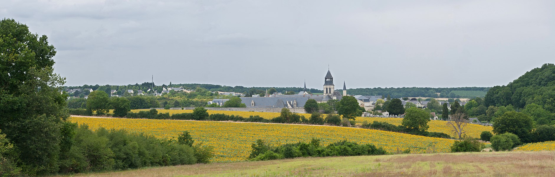 A 6 segment panorama of the village of Fontevraud-l'Abbaye as viewed from the east in the Loire Valley of France.