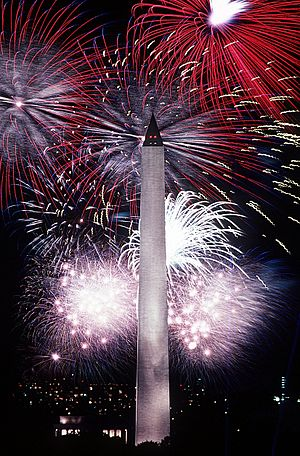 Independence Day (United States) - Displays of fireworks, such as these over the Washington Monument in 1986, take place across the United States on Independence Day.