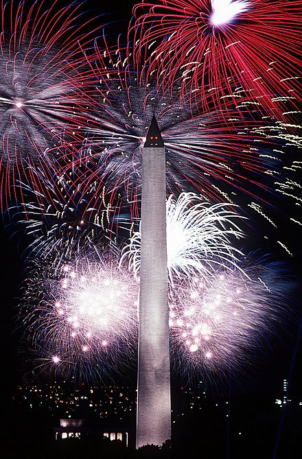 Fireworks in Washington, DC, to celebrate Independence Day on July 4 Fourth of July fireworks behind the Washington Monument, 1986.jpg