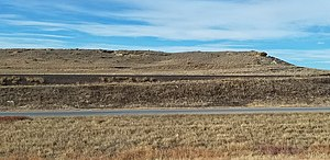 Fox Hills Formation - A ridge capped by a sandstone bed of the Fox Hills Formation west of Limon, Colorado