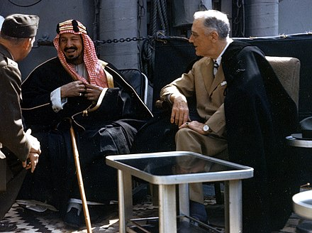 Ibn Saud and Franklin D. Roosevelt in February 1945 Franklin D. Roosevelt with King Ibn Saud aboard USS Quincy (CA-71) on 14 February 1945 (USA-C-545).jpg