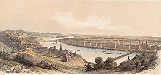 Siege of Buda (1849) - Franz Joseph Sandman Buda and Pest in the 1840s. Seen from the Gellért Hill