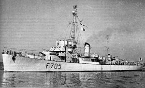 Port side view of Free French Destroyer Escort Marocain (F-705).