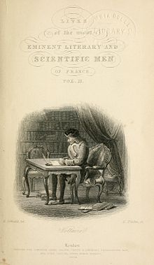 Title page with an illustration of a man writing at a desk. There are filled bookcases and a curtain in the background.