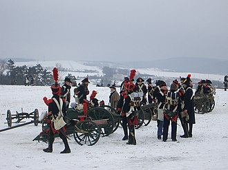 Field artillery - French Napoleonic artillery battery. Photo taken during the 200th anniversary reenactment of the battle of Austerlitz in 1805.