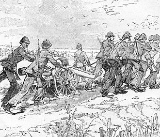 Battle of Palan - French artillerymen at Palan bring up their guns