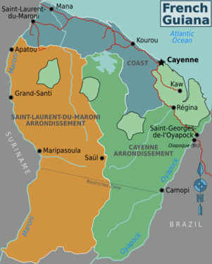 French Guiana Travel Guide At Wikivoyage - Map of french guiana world