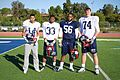 From left to right, William Fuller, a wide receiver, David Williams, a running back, Justin Moody, a defensive lineman, and Mike McGlinchey, an offensive lineman, players with the East Coast Team of the Semper 130103-M-EK802-419.jpg