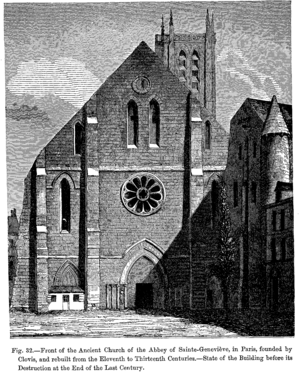 Abbey of St Genevieve - Front of the Church of the Abbey of St Genevieve, in Paris, in a 19th-century engraving of an 18th-century view.