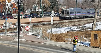 G Line (RTD) - G-Line test train in Olde Town Arvada in February 2019.