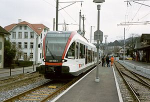 Seetal railway line - A RABe 520 railcar in Beinwil am See station