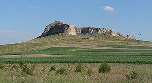 Banner County, Nebraska - Corn growing near the base of Gabe Rock, west of Harrisburg