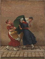 Street Scene in Windy and Rainy Weather