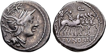 Denarius of the quaestor Gaius Fundanius, 101 BC. The obverse depicts the head of Roma, while the reverse depicts Gaius Marius as triumphator in a chariot; the young man on horseback is probably his son. Marius was awarded this triumph for his victory over the Teutones. Gaius Fundanius, denarius, 101 BC, RRC 326-1.jpg