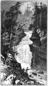 A black and white artistic work of a large waterfall dropping over a rocky cliff on a forested mountain. The falls are surrounded by large conifer trees and a fisherman is in the foreground.