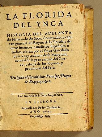 Inca Garcilaso de la Vega - Title page of La Florida del Ynca (1605)
