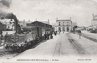 Chemins de Fer du Calvados - Gare de Courseulles, with the narrow gauge railway in the foreground.