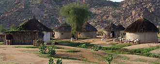 Traditional Eritrean agudo/tukul huts in a village near Barentu Gash Barkahouses.jpg
