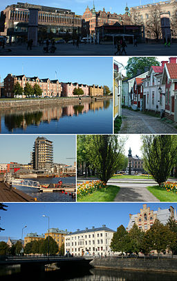 Storetorven Gävle, Alderholmen, Gamla Gefle, Fuldriggeren på Gävle-Strand, Rådhuset, bygninger langs med Gavleån
