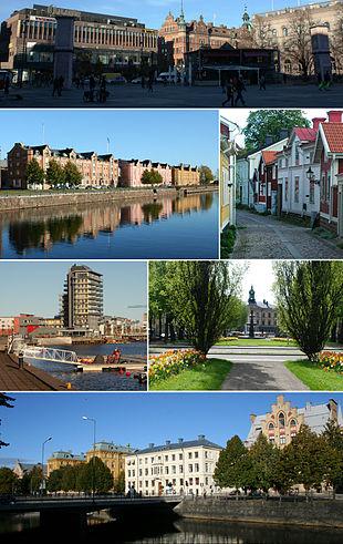 "Town square, Alderholmen, old town, the high-rise ""Fullriggaren"" at Gävle Strand, the town hall, buildings alongside the river of Gavleån"