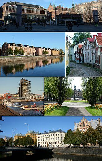 "Gävle - Town square, Alderholmen, old town, the high-rise ""Fullriggaren"" at Gävle Strand, the town hall, buildings alongside the river of Gavleån"
