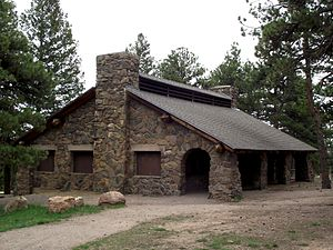 Genesee Park (Colorado) - Picnic Shelter built by CCC in Genesee Park